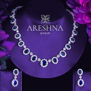 Sapphire Swarovski Crystals Bridal Jewelry Set